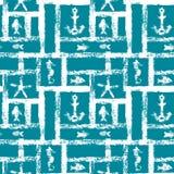 与船锚、星、海象和鱼,无缝的样式,传染媒介的船舶蓝色和白色难看的东西格子 免版税库存照片