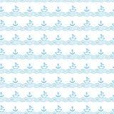 与船锚和风船的无缝的波动图式 免版税库存图片