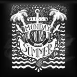 与船锚的夏天字法在黑板 图库摄影