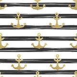 与船锚的无缝的样式 船舶背景金船锚 蓝色海洋海运无缝的主题 也corel凹道例证向量 库存例证