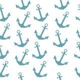 与船锚的无缝的海水手样式 抽象重复背景,动画片传染媒介例证可以使用当织物印刷, 库存例证
