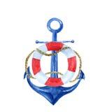 与船锚的船舶葡萄酒水彩例证和lifebuoy 库存照片