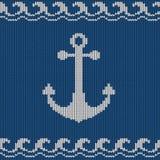 与船锚的被编织的无缝的样式 图库摄影