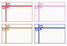 与色的丝带,短信卡,集的礼品看板卡 免版税图库摄影