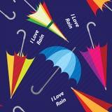 与色的伞的传染媒介无缝的样式 库存例证