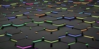 与色的光芒3D翻译例证的电未来派表面六角形样式 免版税图库摄影
