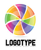 与色的切片商标的打旋的圈子 库存图片