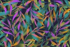 与色的叶子的布局在春天颜色 库存例证