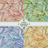 与色的叶子的无缝的模式 套4例证 免版税库存照片