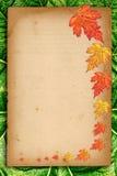 与色的叶子的秋天背景在老纸张 免版税库存图片