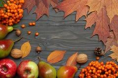 与色的叶子的秋天背景在黑暗的木板 顶视图 图库摄影