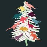 与色的恐龙剪影的白色圣诞节快乐树在黑背景 库存例证