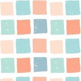与色的手拉的正方形的传染媒介无缝的样式 库存图片