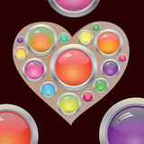 与色的按钮的抽象心脏 免版税库存照片