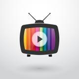与色的条纹的老电视 库存照片
