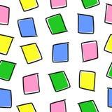 与色的正方形的无缝的样式在白色背景 免版税库存照片