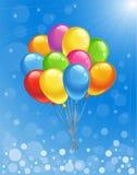 与色的气球的背景 免版税库存图片