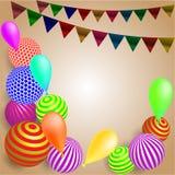 与色的球和旗子,轻轻地棕色背景的欢乐背景 向量例证