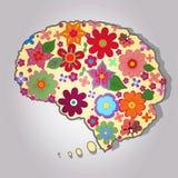 与色的花的美丽的脑子 免版税库存图片