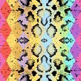 与色的菱形的蛇皮纹理 几何的背景 无缝的样式黑色彩虹绿色紫色蓝色黄色背景 库存照片