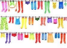 与色的袜子,长袜, T恤杉,裤子,泳装的样式 额嘴装饰飞行例证图象其纸部分燕子水彩 免版税库存图片