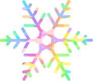 与色的金刚石的样式的明亮的彩虹雪花 免版税图库摄影