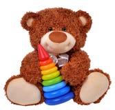 与色的金字塔的玩具熊 库存图片