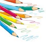与色的铅笔乱画的儿童的图画 免版税库存照片
