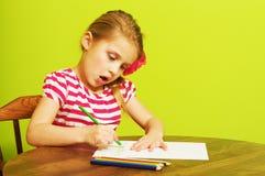与色的铅笔的一张小女孩图画 免版税图库摄影