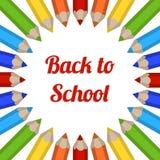 与色的铅笔的传染媒介框架 回到学校的明信片 免版税库存图片