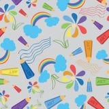 与色的铅笔的图画 通知 无缝的模式 库存图片
