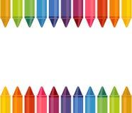 与色的铅笔的无缝的横幅在白色背景 伟大为您回到学校项目 库存例证