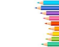 与色的铅笔的白色背景 向量例证