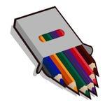 与色的铅笔的笔匣画的 免版税库存照片