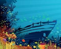 与色的鱼的珊瑚礁 库存照片