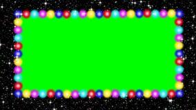 与色的,使成环的电灯泡和绿色屏幕的赌博娱乐场广告牌 向量例证