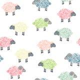 与色的绵羊的无缝的样式 免版税库存照片