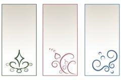 与艺术性的装饰品的三张卡片 库存照片