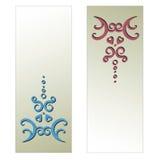 与艺术性的装饰品的两张卡片 免版税库存图片