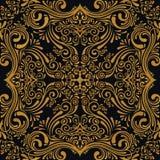 与艺术装饰品的传染媒介无缝的金样式 设计的葡萄酒元素在维多利亚女王时代的样式 免版税库存照片