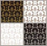 与艺术装饰品的传染媒介无缝的金样式 设计的葡萄酒元素在维多利亚女王时代的样式 装饰鞋带网眼图案 库存例证