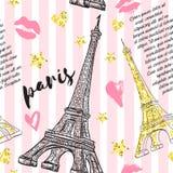 巴黎 与艾菲尔铁塔、亲吻、心脏和星的葡萄酒无缝的样式与在镶边背景的金黄闪烁箔纹理 库存例证