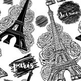 巴黎 与艾菲尔铁塔、玫瑰和墨水杂文的葡萄酒无缝的样式 免版税库存照片