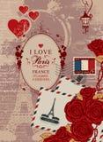 与艾菲尔铁塔和法国旗子的旅行横幅 库存图片