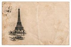 与艾菲尔铁塔的葡萄酒明信片在巴黎,法国 库存照片