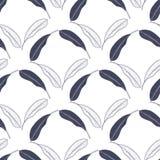 与芒果叶子的热带无缝的样式 导航印刷品的,纺织品,包装纸手拉的例证 免版税库存照片