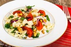 与芝麻菜、鸡、豌豆、葱和蕃茄的意大利面制色拉 库存照片