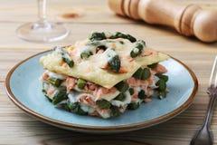 与芦笋三文鱼和besciamella乳酪的意大利烤宽面条 免版税库存照片