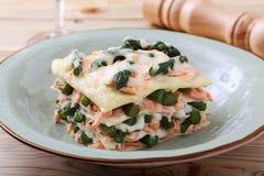 与芦笋三文鱼和besciamella乳酪的意大利烤宽面条 免版税库存图片