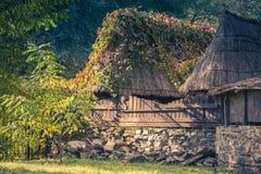 与芦苇屋顶的老农村小屋在木篱芭后的在晚上 被定调子的图象 免版税图库摄影